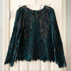 Dalia black dark green sheer lace top